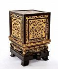 Chinese Carved Wood Gilt Lacquer Temple Altar Box Stand