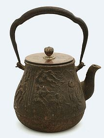 Japanese Cast Iron Relief Teapot Tetsubin for Tea Sg
