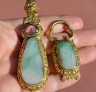 19C Chinese Gilt Bronze  Jadeite & Tourmaline Belt Hook