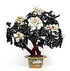 Chinese Hardstone Jade Jewel Tree Cloisonne