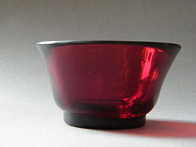 18th Century Ruby Red Peking Glass Bowl - Qianlong Mark