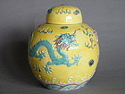 Early 20thCent  Yellow Ground Dragon Jar Wang Bing Rong