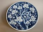 Large heavy  Prunus Blossom Dish - 19th Century