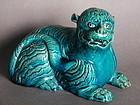 Rare Japanese  Arita Turquoise Glazed Tiger, Late Edo
