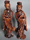 Fine & Rare Pair Large 18th C Carved Hardwood Guanyins