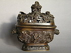 Rare 17th/18th Century Chinese Bronze Censer & Cover Kangxi 1662-1722