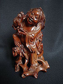 Chinese Hardwood Carving of Liu Hai - Guangxu