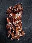 Chinese Hardwood Carving of Liu Hai - Guangxu