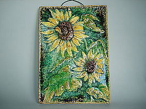 German Karlsruhe Sunflower Tile or Plaque - circa 1960s