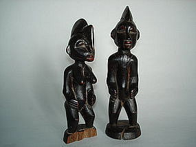 Pair of Yoruba Ibeji Twin Figures - Early 20th Century