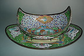 Early 20th Century Persian Enamel Bowl and Stand