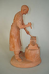 1950s Terracotta Model  Blacksmith Peggy Davies, signed