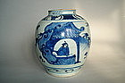 Late Ming Transitional Blue & White Jar circa 1600-1640