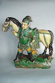 Ming Dynasty Roof  Ridge Tile Horse & Groom (1368 -1644
