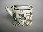 19C Famille Rose Enamelled Small Chinese Tea/Wine Pot