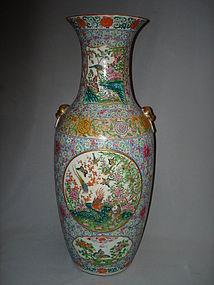 Large 64cm Mid 19th Century Chinese Famille Rose Vase