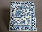 Rare Blue & White Porcelain Tile, probably 19th Century