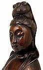 Lg Old Chinese Wood Carved Quan Yin Buddha