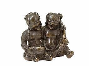 18th Century Chinese Bronze Seated 2 God Buddha