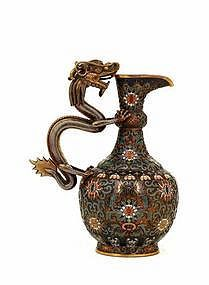 18C Chinese Gilt Bronze Cloisonne Dragon Ewer Pitcher