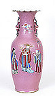 Lg 19C Chinese Pink Famille Rose Vase Figurine Figure