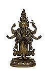 19C Chinese Tibetan Bronze Buddha Quan Yin Arms Hands