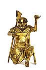 18C Chinese Gilt Bronze Buddha Quan Kwan Yin Figure