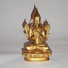 An Exquisite Sino-Tibetan Gilt Bronze Buddhist Statue