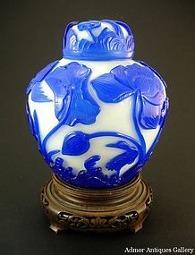 Antique Chinese Peking Glass Lidded Jar QIANLONG Mark