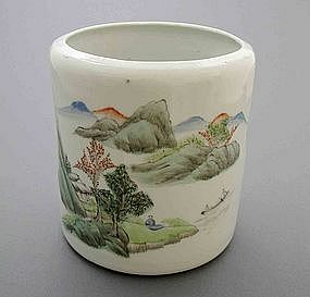 Chinese Famille Rose Brush Pot, Early Republic, c 1920