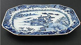 A Large Chinese Blue & White Rectangular Platter