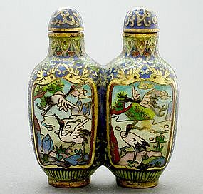 Chinese Cloisonne Snuff Bottle Double Body, circa 1905