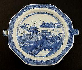 Chinese Qianlong Blue & White Warming Plate, circa 1750