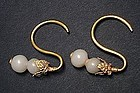 Rare Ming Period (1368-1644) Gold and Jade Earrings