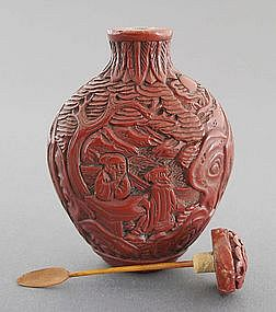 Chinese Cinnabar Lacquer Snuff Bottle 19th Century
