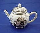 Chinese Export European Subject Graisaille Teapot c1745