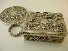 A SET ANTIQUE CHINESE SILVER JEWELRY BOX HAND MIRROR item 954797