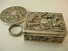 A SET ANTIQUE CHINESE SILVER JEWELRY BOX / HAND MIRROR