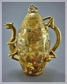 Japanese Satsuma Dragon Teapot Marked - Meiji Period