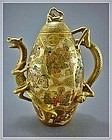 Japanese Satsuma Dragon Teapot Marked - Meiji Period