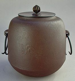 Chagama Large Pot for Japanese Tea Ceremony,  Herons