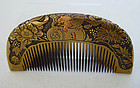 Antique Kanzashi Hair comb, Hand Carved Peony, Rooster