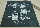Japanese Indigo Dyed Cotton Futon Panel, Tsutsugaki