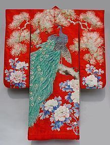 Antique Red Uchikake, Peacocks on Pine Branch, Peony