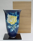 Large Ando Cloisonne Vase, Yellow Rose, Silver Rim