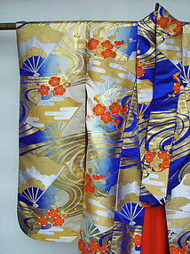 Japanese Wedding Gown; Fans, Plum Blossoms, River