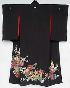 Yuzen Flowers in Black Antique Kimono