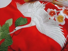 Japanese Wedding Kimono Gown, Cranes in Red Satin