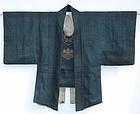 Samurai Firemen's Jacket, Blue, Kiri Mon Crest, Edo