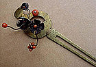 Japanese Brass Kanzashi with Silver and Coral